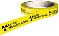 Caution radioactive material hazard tape.