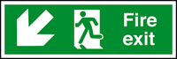 Fire exit arrow down left sign.
