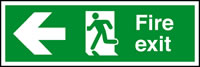 Fire exit arrow left sign.