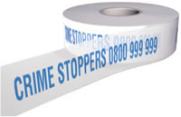 Crime stoppers 0800 999 999 sign.