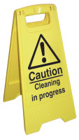 Caution - cleaning in progress sign.