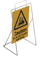 Caution-fork-lift trucks operating requires st4 or st1 frame sign.