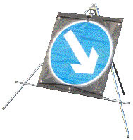Reversible arrow white on blue sign.