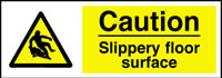 Caution-Slippery surface sign.