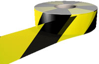 Hazard warning barrier tape non adhesive sign.