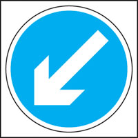 White on blue arrow right sign.