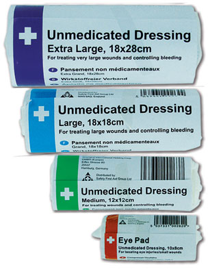 sterile eye pad with bandage 6 pack plasters & dressings. sign
