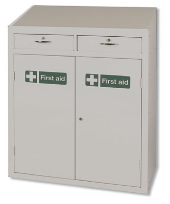 mobile base for medical workstation first aid. Complete storage solutions for first aid equipment.All products are epoxy powder coated for durability. Units are supplied with a key cam lock~ two keys and a first aid label. sign