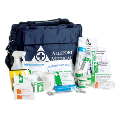 football first aid kit first aid kits. County FA approved football first aid kit. The Allsport Medical football first aid kit is ideal for minor football injuries. Containing over 60 items to treat cuts and sprains~ the football first aid kit complies wi sign