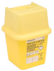 0.25 litre pocket sharps bin first aid accessories. For safe disposal of sharp or hazardous waste. Strong~ secure bins ideal for use in offices~ medical facilities~ washrooms or wherever needles/sharps must be disposed of safely. Non-toxic when inciner sign