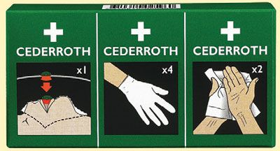 triangular bandage refill first aid kits. First aid kit refills for the Cederroth panels and cabinets. These essential items for your Cederroth first aid kit will keep you covered for accidents and injuries in the workplace. It is vital to keep your fir sign