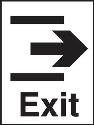 400 x 300 mm exit & arrow right sign