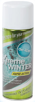 vehicle de icer 400ml. Instantly removes ice and frost from vehicle windscreens and windows with its powerful de-icer formula. Essential item for motorists in winter, this handy de-icer will see you through those frosty winter months.