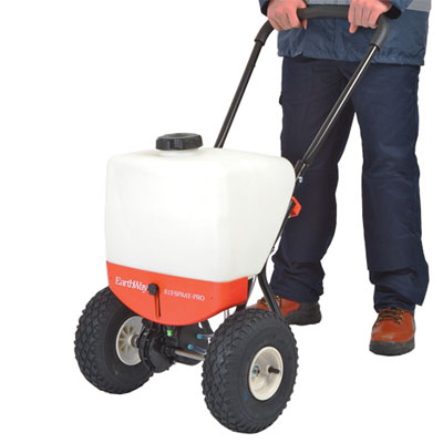 ice melt liquid pedestrian sprayer. Ideal for spraying liquid ice melt over large areas ground driven pump and high speed gearbox no battery or motor to maintain adjustable height nozzle with 3 replaceable tips for fine, medium and coarse spraying.