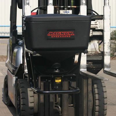 professional vehicle mounted spreader. for use in commercial situations with high traffic flow 109kg hopper capacity with a typical spread width of up to 9m supplied with easy to operate 2 speed controller powered by simply connecting to the vehicle.