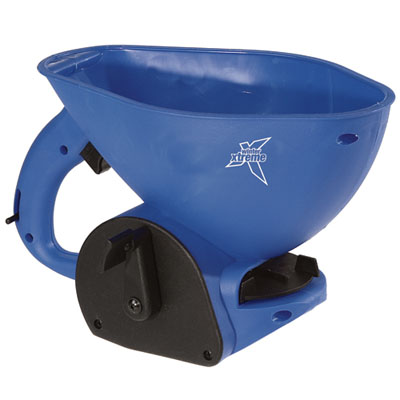 hand held spreader makes quick work of spot spreading high-speed hand crank gearbox with adjustable rate control ergonomic handle and scoop-front design integrated scoop design can scoop material out of bags or bins 3 metre typical spread wid.