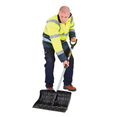 heavy duty snow shovel. Shovels snow, scraps and chips ice deep cavity blade with galvanised steel wearstrip, designed to chip away ice ergo D-Grip with cushion grip on shaft for comfort.