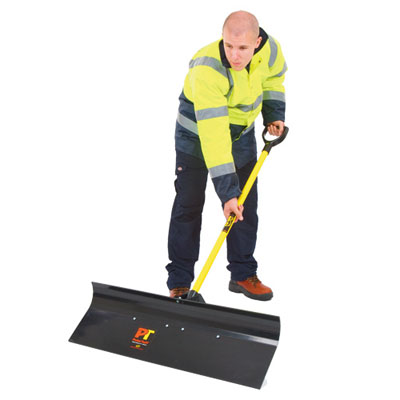 heavy duty snow pusher black. Oversized blade for quick snow removal tough fibreglass shaft with D-grip handle for easy handling heavy duty support brace secures shaft to blade