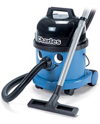 charles vacuum floorcare machines. A wet and dry vacuum cleaner for light industrial or domestic use. High performance 1200w motor. Suitable for drying floors and unblocking sinks. Large filers and disposable dust bag for dry use and safety float va sign