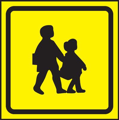 300 x 300 mm school bus symbol signs.